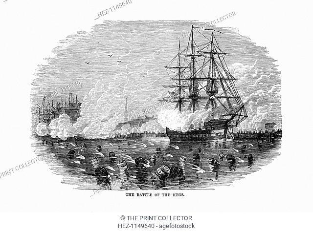 The Battle of the Kegs', 6 January 1778, (1872). Scene during the ...