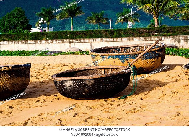 Vietnam, typical fishing boats on the beach in Qui-Nhon