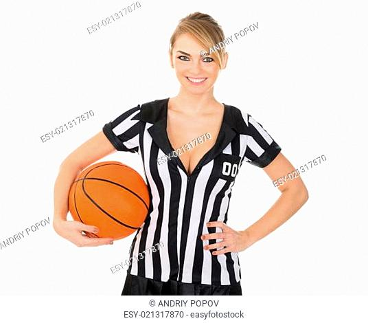 Female Referee With Orange Basketball In Hand Over White Background