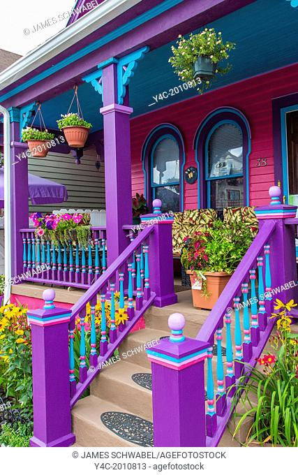 Porch on house in the Allentoen area part of GardenWalk Buffalo the largest garden tour in US and part of National Garden Festival in Buffalo New York