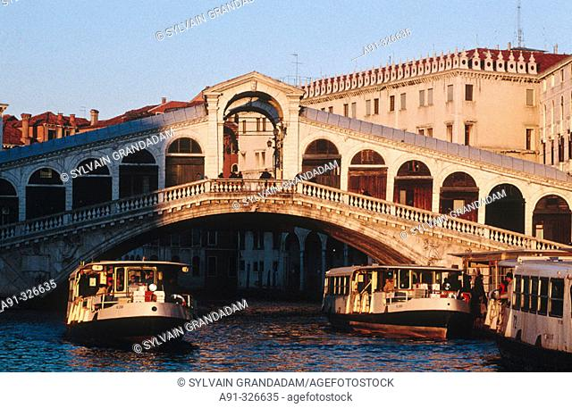 The Grand Canal. Sunset after the storm at Rialto bridge. Venice. Italy