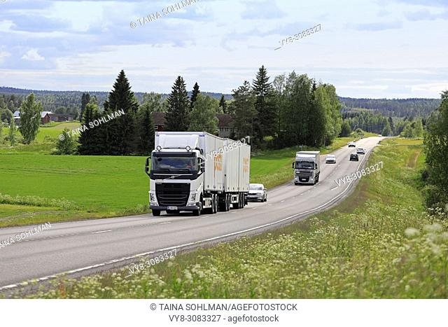 Road landscape of Highway 9 on a day of summer with truck and car traffic. Jamsa, Finland - June 14, 2018
