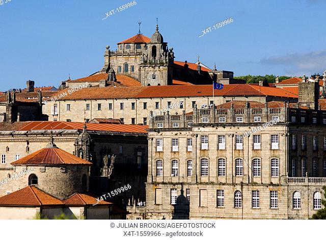 Skyline and monastery buildings, Santiago de Compostela, Spain
