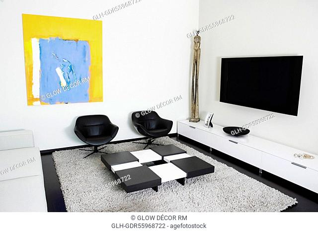 LCD television mounted on a wall
