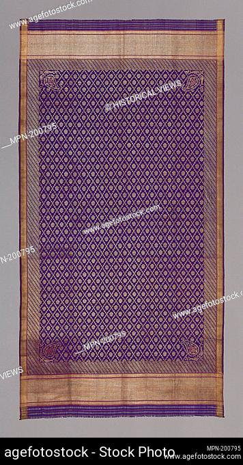 Scarf - 19th century - Eastern India - Origin: India, Date: 1801–1900, Medium: Silk, plain simple cloth, semi-transparent brocaded with gold wound on yellow...