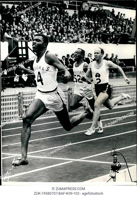 Jul. 07, 1958 - Empire games at Cardiff. New fast time. Photo shows T.A. Robinson (Bahamas) sets up a new record time 9.5 sees in the first heat of the 100...