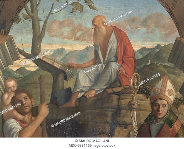 Sts Christopher, Jerome and Louis of Toulouse (San Giovanni Crisostomo Altarpiece), by Giovanni Bellini, 1513, 16th Century, panel, cm 308 x 178