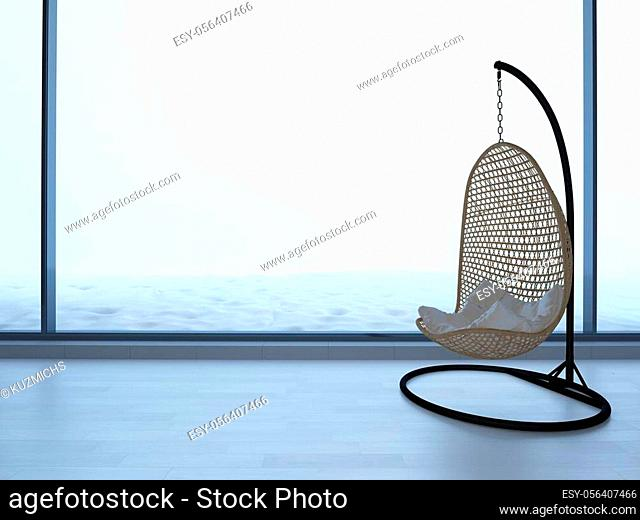 wicker chair standing in an empty room on light parquet floor. Natural light from the window, 3d illustration