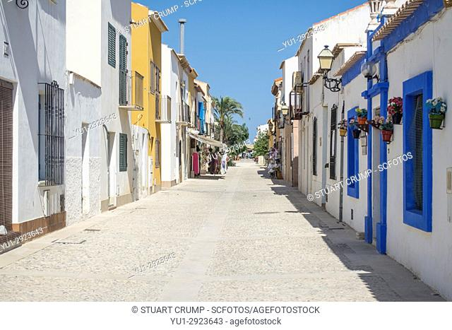 Deserted main street on the Spanish island of Tabarca after the day trippers have departed