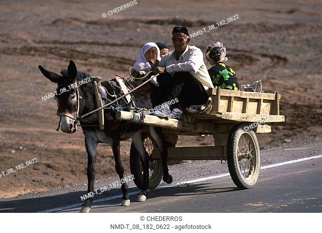 Senior man with four people riding on a cart, China