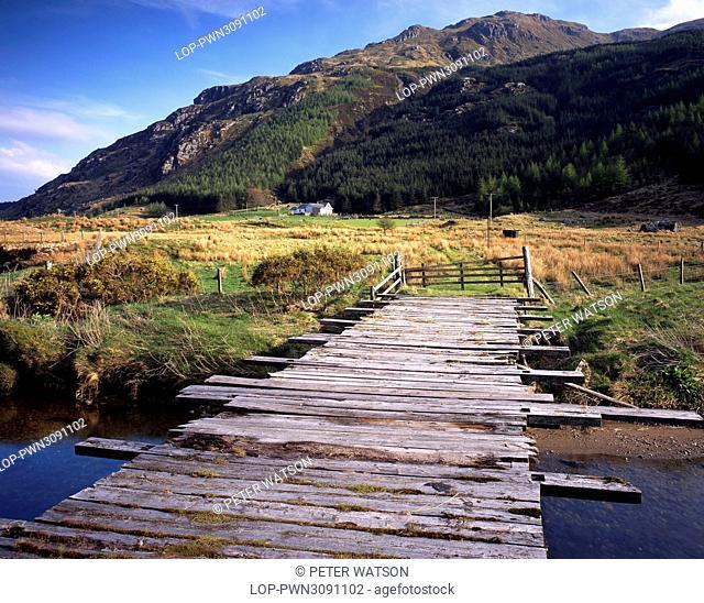 Scotland, Argyll & Bute, Near Dunoon. A wooden sheep bridge spans the River Massan in the heart of remote Glen Massan