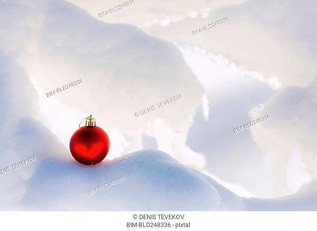 Christmas ornament on snow