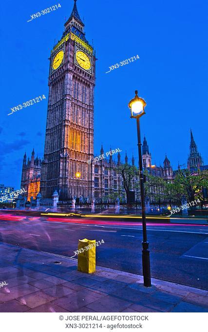 Elizabeth Tower, Big Ben, Clock tower, Houses of Parliament, Palace of Westminster, Bridge Street, City of Westminster, London, England, UK, Europe