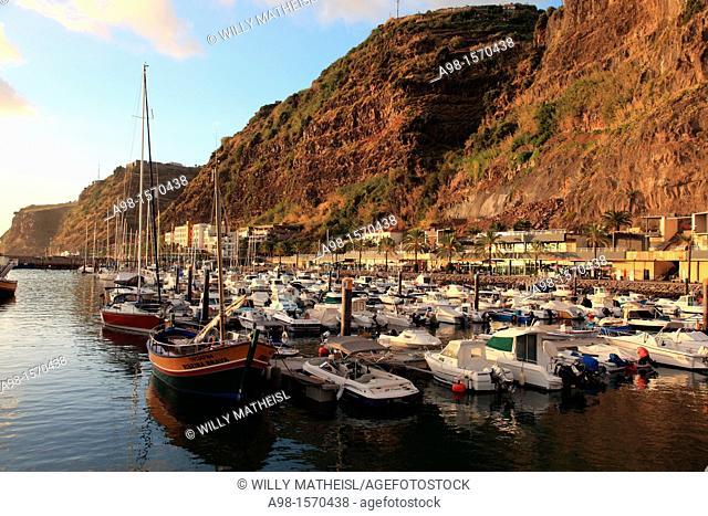boats anchored in the port and Marina of Calheta, Madeira, Portugal, Europe