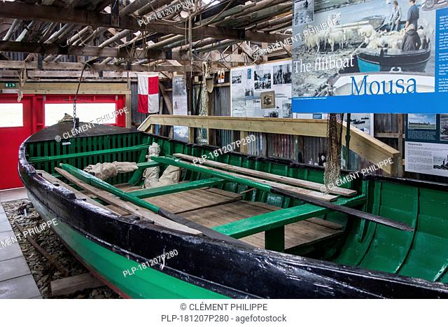 The restored Mousa flitboat / flit boat in the Sandsayre Interpretative Centre at Sandwick, Shetland Islands, Scotland, UK