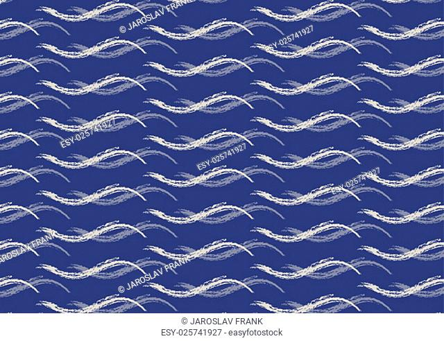 Seamless light sea waves on the trendy dark blue background. Vector illustration