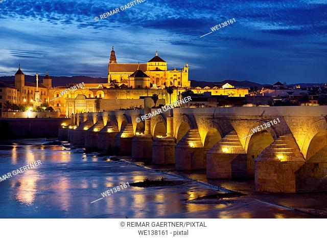 Night lights on Roman Bridge over the Guadalquivir River with Episcopal Palace and Cordoba Cathedral