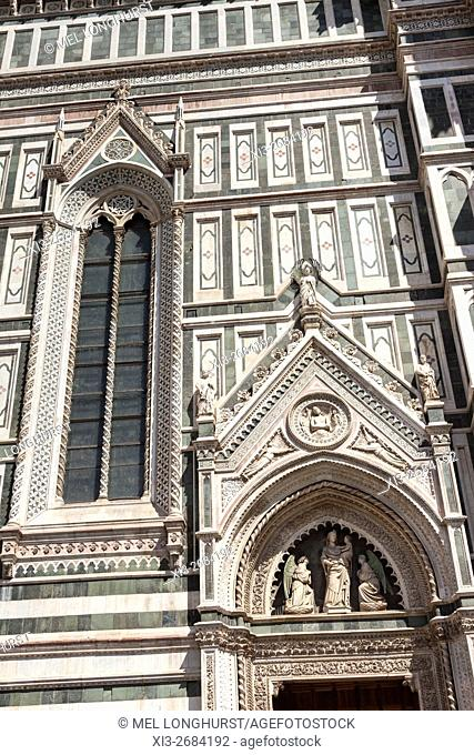Florence Cathedral, Cattedrale Di Santa Maria Del Fiore, decorative wall, Florence, Tuscany, Italy