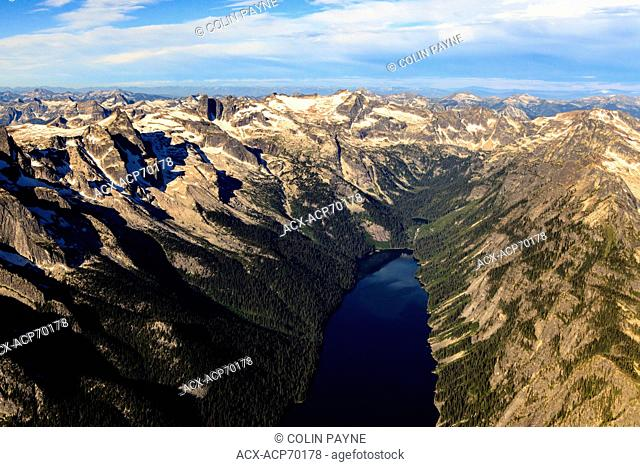 Aerial view of Evans Lake and the Valhalla Range, Valhalla Provincial Park