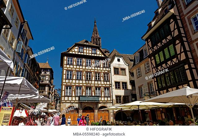 Market square (Place de la Grand Boucherie) and cathedral of Strasbourg, France