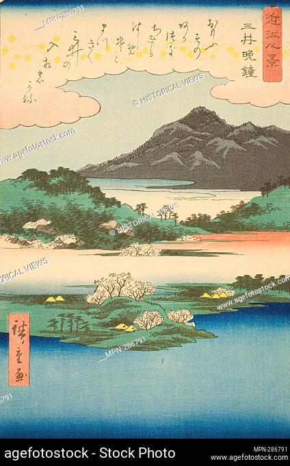 Author: Utagawa Hiroshige. Evening Bell at Mii Temple (Mii bansho), from the series 'Eight Views of Omi (Omi hakkei)' - 1857 - Utagawa Hiroshige O f Japanese