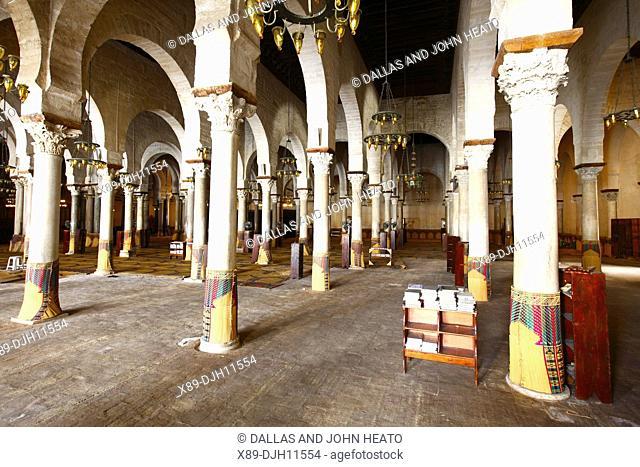 Africa, Tunisia, Kairouan, Interior of The Great Mosque Okba, Prayer Hall