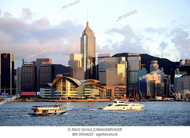 View from Kowloon on Hong Kong Island's skyline on Hong Kong River, with boats on the river, Central, with the International Conference Centre