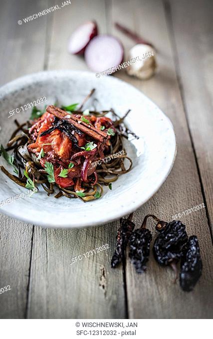 Seaweed pasta with smoked chilli