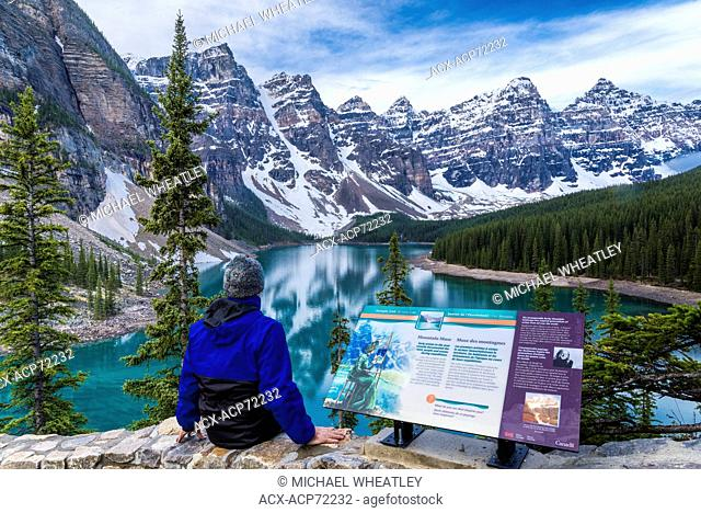 Man at Moraine Lake viewpoint, Banff National Park, Alberta, Canada (self-released)