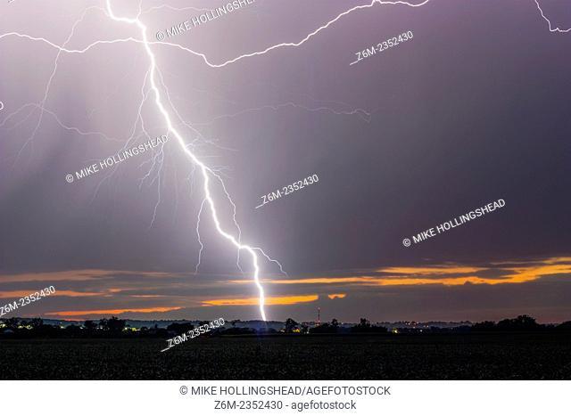 Lightning strikes the ground after sunset in eastern Nebraska