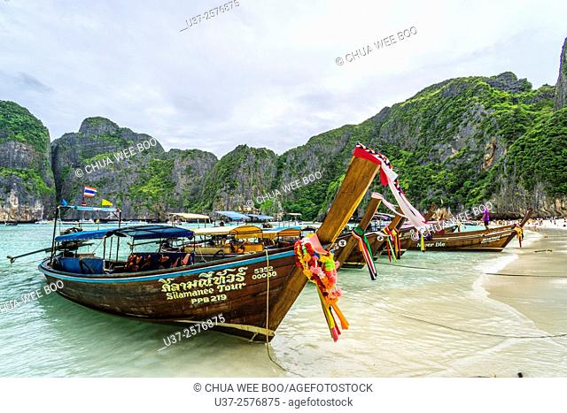 Wooden long-tailed boats at Maya Beach, Krabi, Thailand