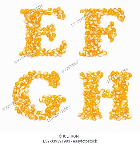 Letter set made of corn seeds - capital letters E F G H