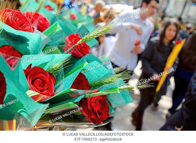 flower stall in La Rambla,Sant Jordi's Day (April 23rd) ,Barcelona, Catalonia,Spain