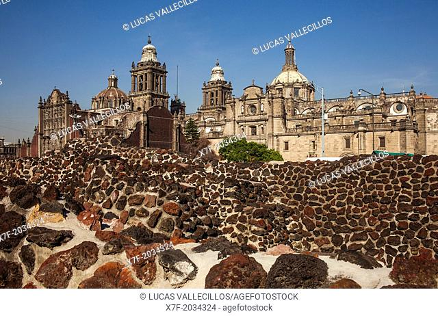 The Aztecs Ruins of Templo Mayor, Archaeological Site, in backgroubd The Metropolitan Cathedral, historic center, Mexico City, Mexico