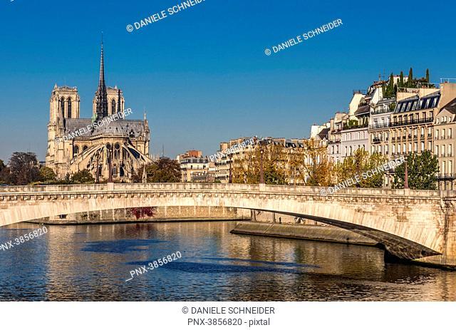 France, Paris, 4th arrondissement, Ile Saint-Louis with the residential buildings of the Quai d'Orleans and the Pont de la Tournelle