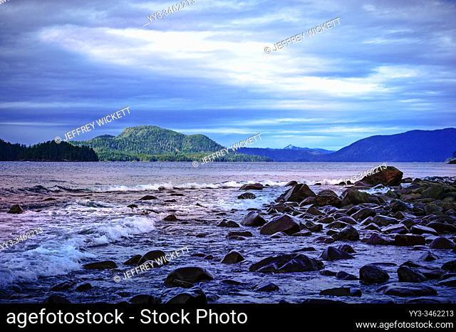 Waves breaking on the rocky shore along Sitka Sound near Sitka, Alaska, USA