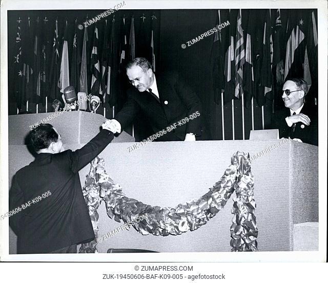 Jun. 06, 1945 - Soviet Foreign Minister Molotov at the UN Charter Conference April 25- in San Francisco. (Credit Image: © Keystone Press Agency/Keystone USA via...