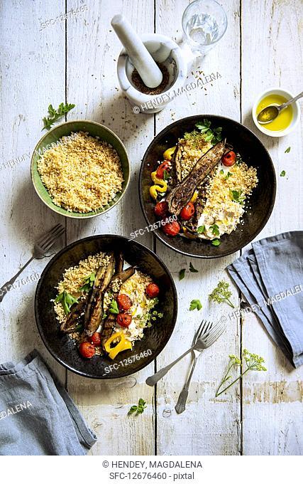 Vegeterian couscous with greek yoghurt, hummus and roasted Aubergine