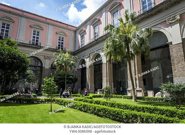 Inner courtyard, The Garden of Camellias, National Archaeological Museum, Naples, Italy