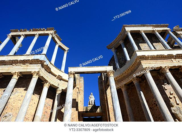 Roman Theatre of Merida, constructed in the years 16 to 15 BCE and promoted by the consul Vipsanius Agrippa in the Roman city of Emerita Augusta