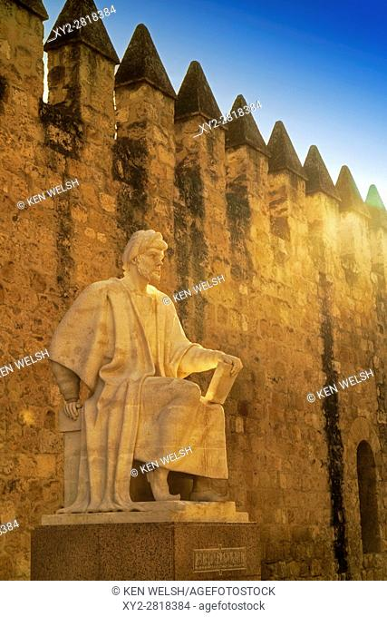 Cordoba, Cordoba Province, Andalusia, southern Spain. Statue of Averroes, Muslim polymath born in Cordoba 1126, died Marrakech, Morocco,1198