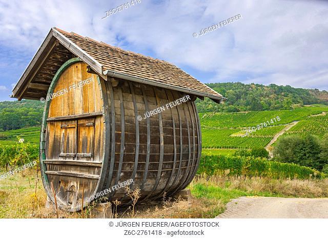 Big wine barrel with vineyards, scenic landscape of vineyards, route of vine Alsatian, Alsace, France