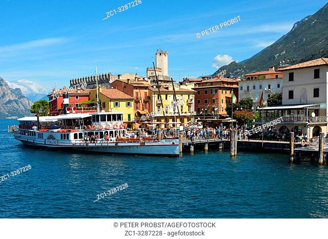 Passenger ship in the Harbor of Malcesine on Lake Garda - Italy