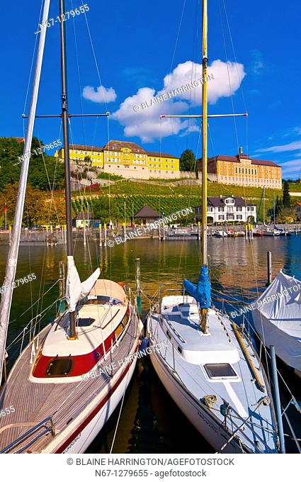 Harbor at the medieval city of Meersburg on Lake Constance Bodensee, Baden-Württemberg, Germany