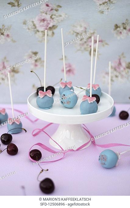 Chocolate and cherry cake pops