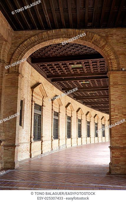 Seville Sevilla Plaza de Espana Andalusia Spain square corridor