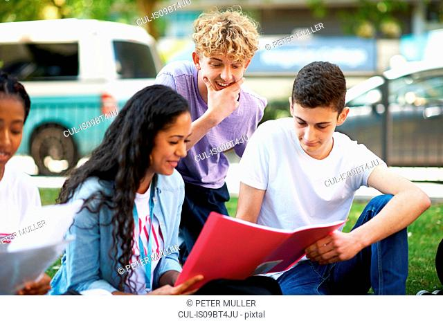 Female and male higher education students reading paperwork on college campus lawn