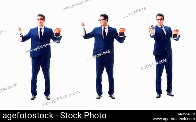 Businessman with blood bag isolated on white