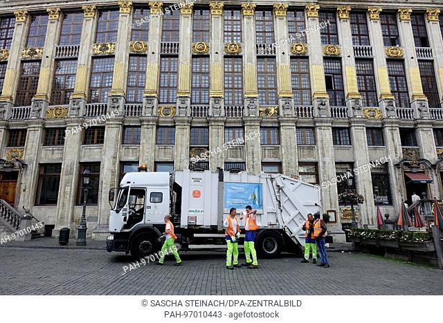A city cleaning staff vehicle is parked outside the house of the Dukes of Brabant (Maison des Ducs de Brabant) at the Grand Place in the Belgian capital...