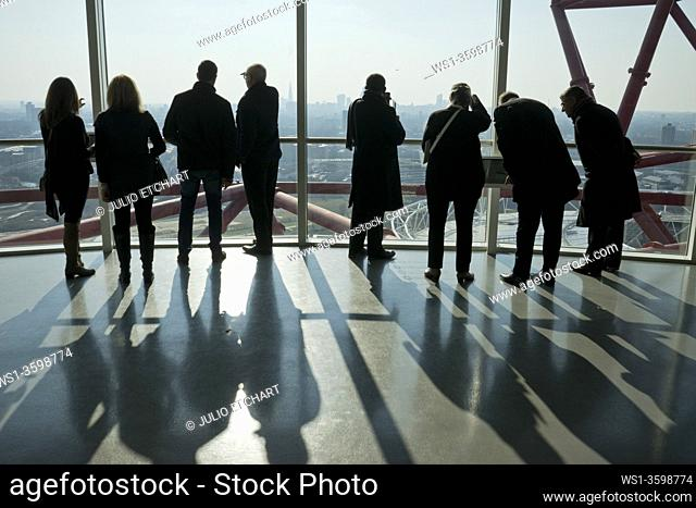 Visitors enjoy views from the ArcelorMittal Orbit by artist Anish Kapoor at the Queen Elizabeth Olympic Park, London